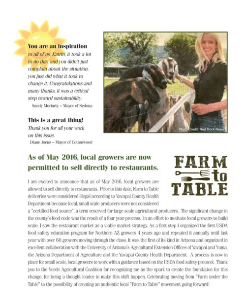 Good News for Farm to Table in Yavapai County